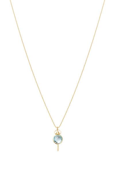 Monica Rich Kosann - Gold Mini Pocketwatch Key Blue Topaz Necklace