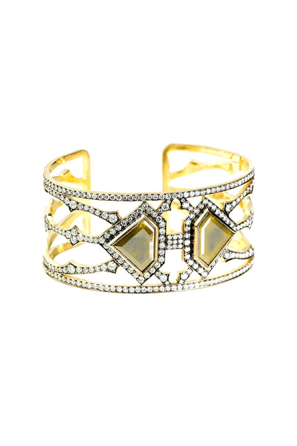 Sylva & Cie 18K Yellow Gold Diamond Cuff Bracelet