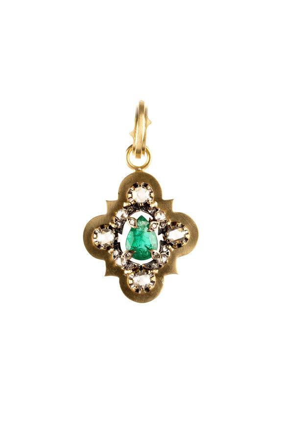 Sylva & Cie 18K Gold Emerald & Diamond Vintage Cross Pendant