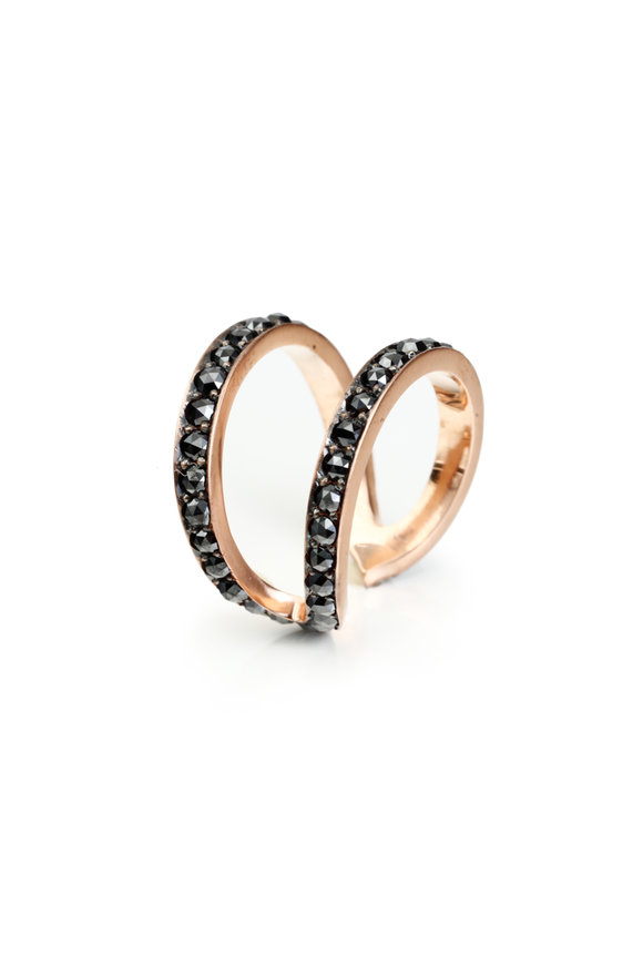 Sylva & Cie 14K Rose Gold Black Diamond Wonder Woman Ring
