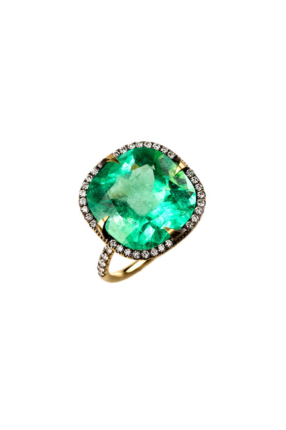 Sylva & Cie 18K Yellow Gold Emerald & Diamond Ring