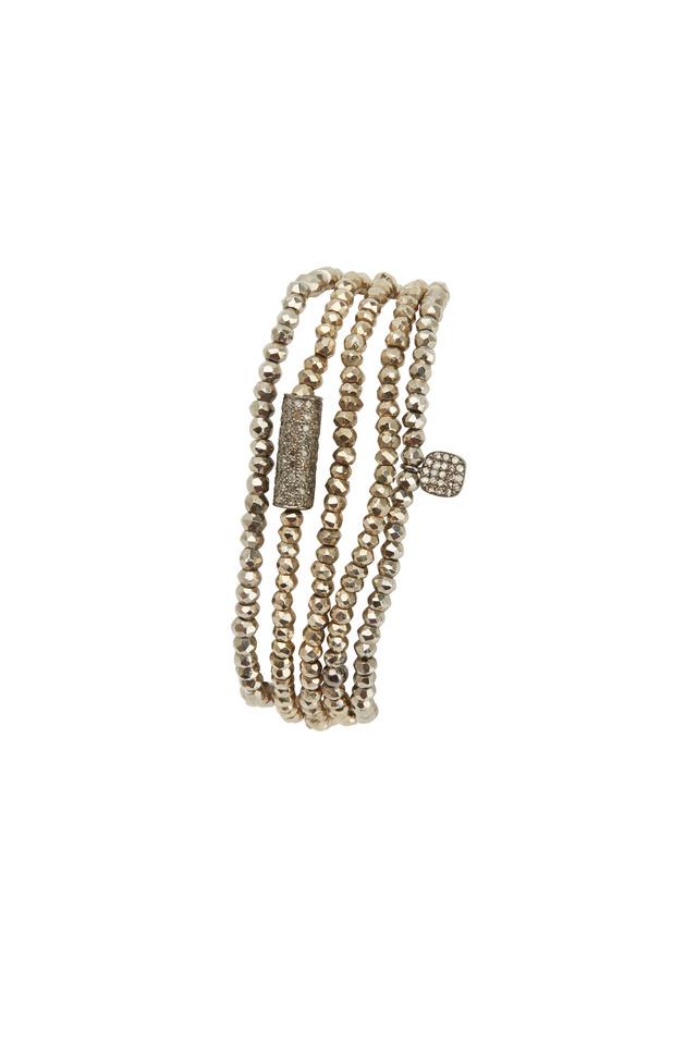 Silver Pyrite Pavé-Set White Diamond Tube Bracelet