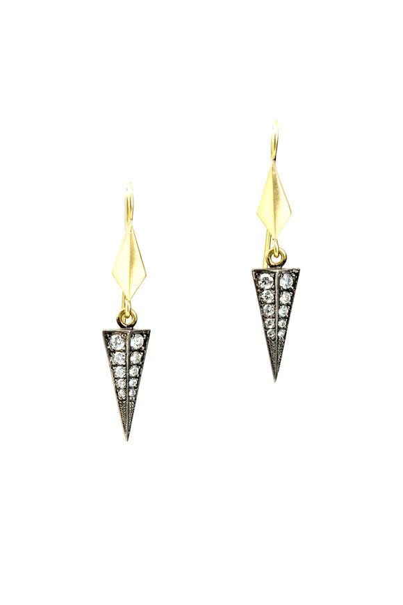 Sylva & Cie 18K Gold & Silver Diamond Baby Shield Earrings