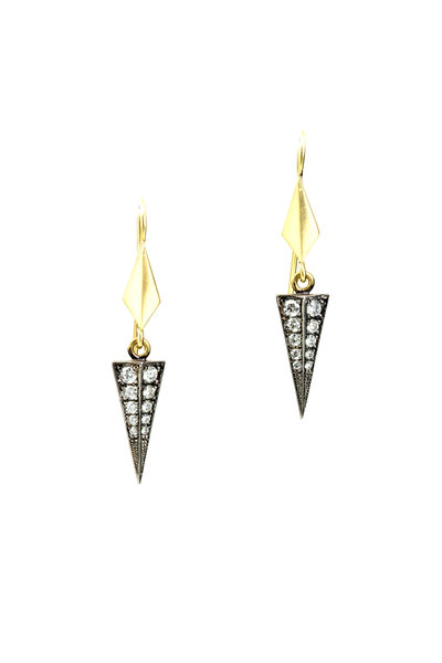 Sylva & Cie - 18K Gold & Silver Diamond Baby Shield Earrings