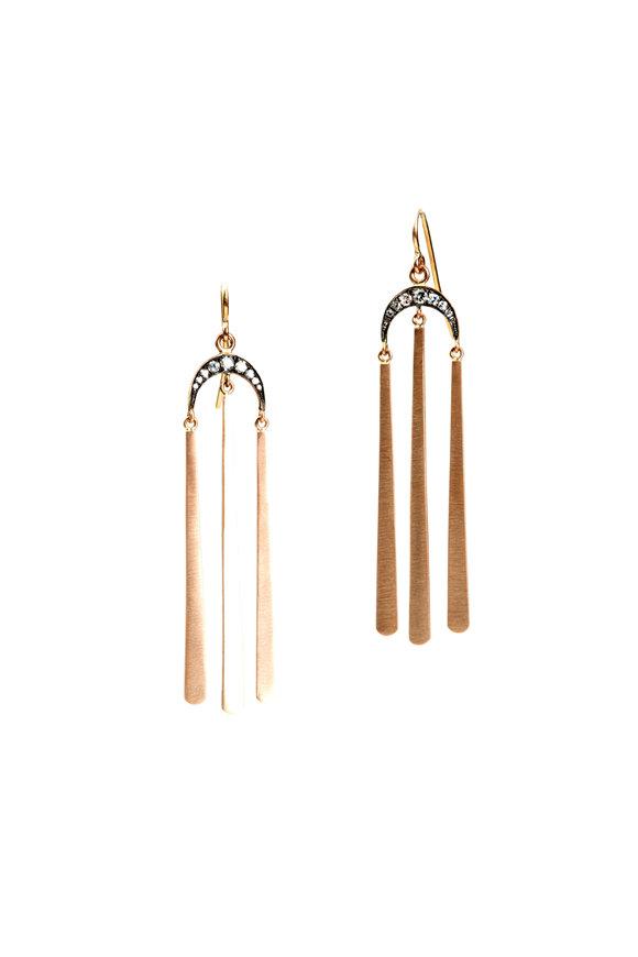 Sylva & Cie 14K Rose Gold Diamond Moon Top Earrings