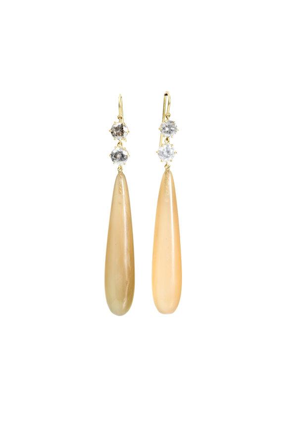 Sylva & Cie 18K Yellow Gold Horn & Diamond Drop Earrings