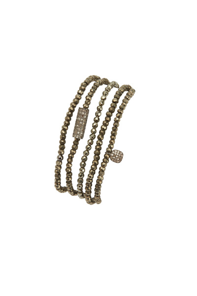 Tulah Jem - Silver Pyrite Pavé-Set Diamond Tube Bracelet