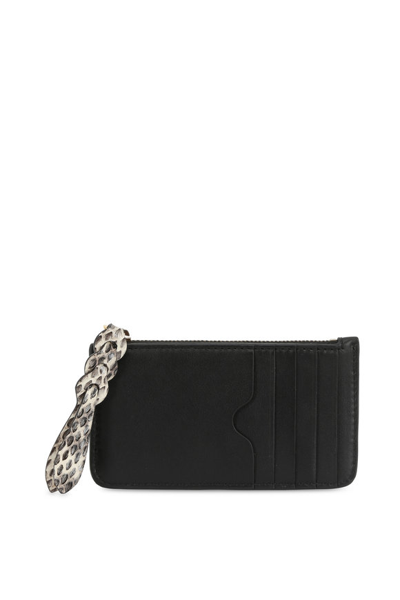 Alexander McQueen Black Leather & Snakeskin Zip Card Case