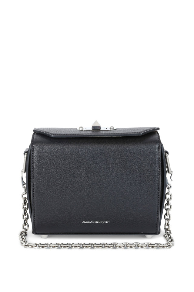 Black Grained Leather Box Bag With Chain