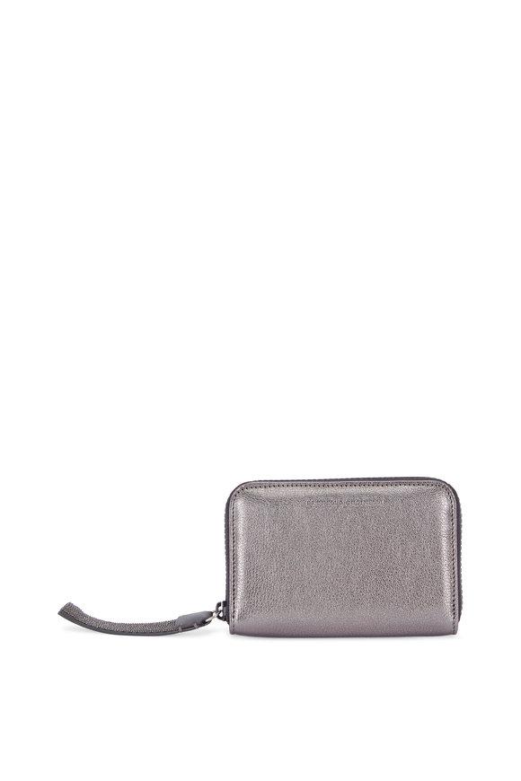 Brunello Cucinelli Gunmetal Grained Leather Zip Square Wallet