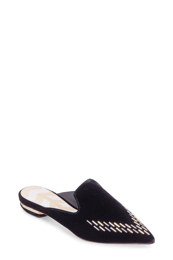 Nicholas Kirkwood Beya Black Velvet Studded Pointed Mule