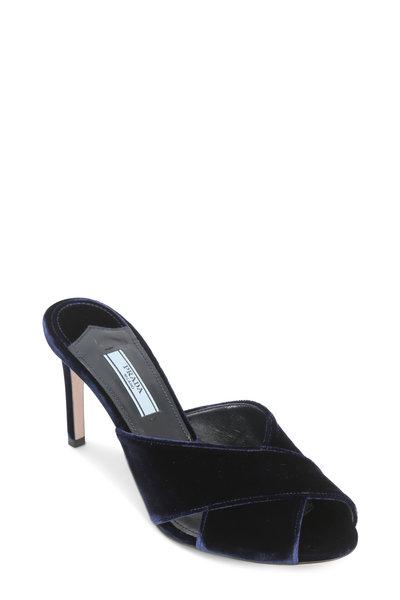 Prada - Navy Blue Velvet Criss-Cross Slide Sandal, 85mm