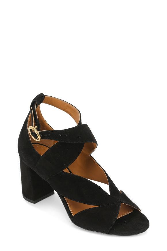 Chloé Black Suede Cut Out Ankle Strap Sandal, 70mm