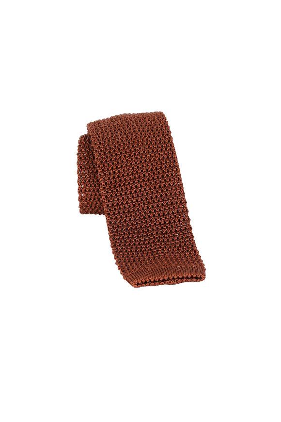Charvet Rust Silk Knit Necktie