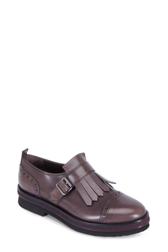 AGL Plum Leather Kiltie Single Monk Shoe