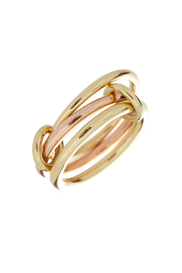 Spinelli Kilcollin 18K Yellow & Rose Gold Three Link Raneth Ring