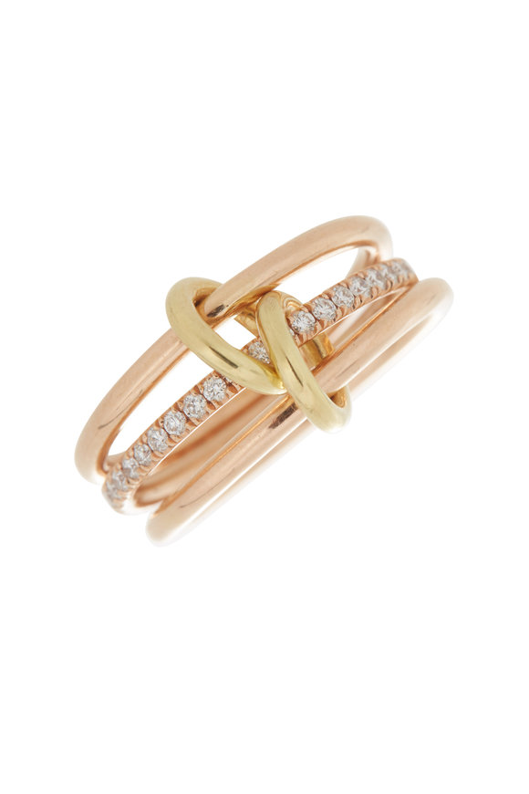 Spinelli Kilcollin 18K Rose Gold Diamond Three Link Sonny Ring