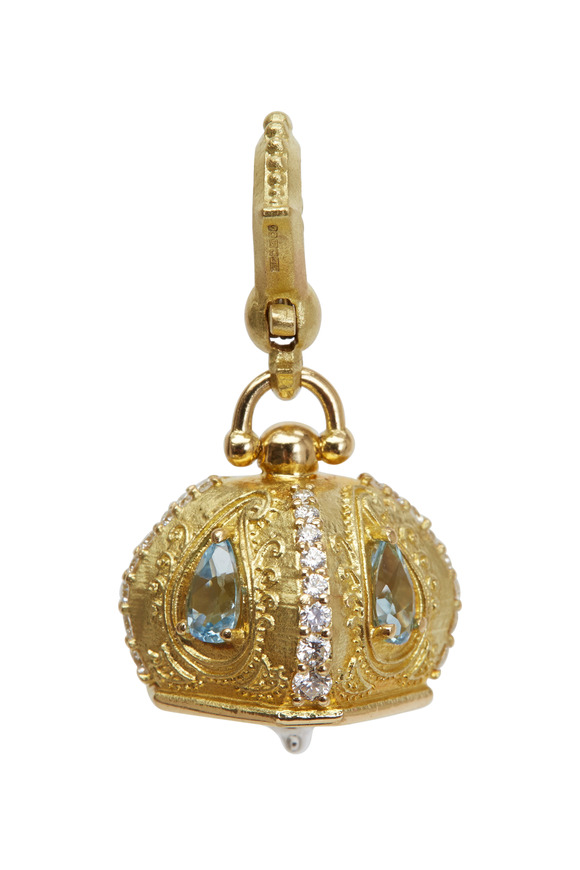 Paul Morelli Meditation Bell Gold Aquamarine Diamond Pendant