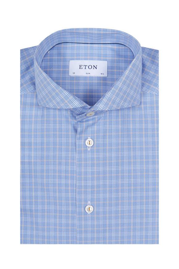 Eton Light Blue Plaid Slim Fit Dress Shirt