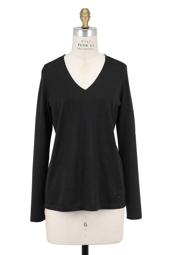 Akris Shadow Cashmere & Silk V-Neck Long Sleeve Top