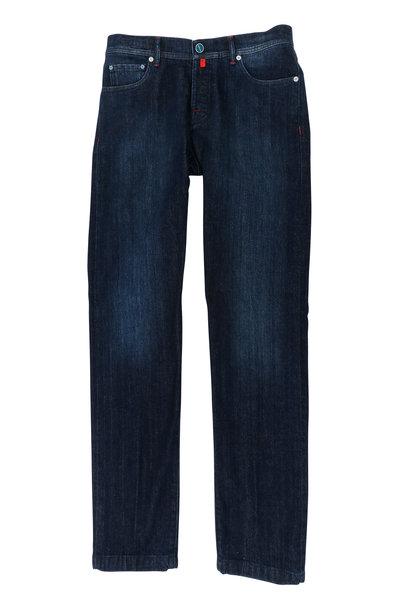 Kiton - Dark Denim Slim Fit Five Pocket Pant