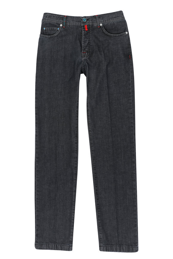 Kiton Charcoal Gray Slim Five Pocket Pant