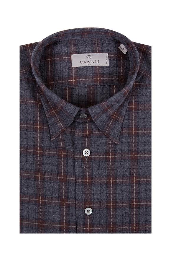 Canali Charcoal Gray & Brown Plaid Sport Shirt