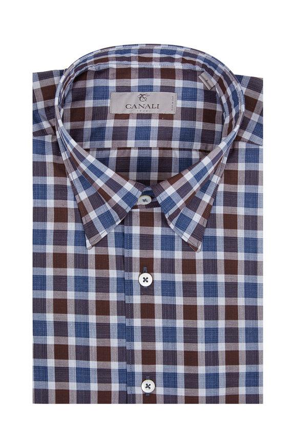 Canali Blue & Brown Check Sport Shirt
