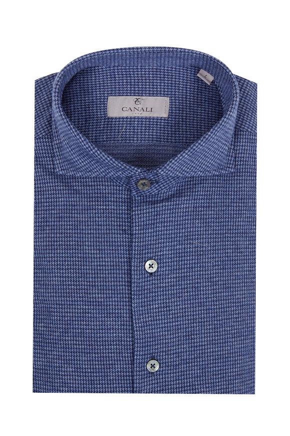 Canali Dark Blue Houndstooth Sport Shirt