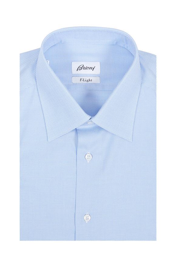 Brioni F-Light Blue Houndstooth Dress Shirt