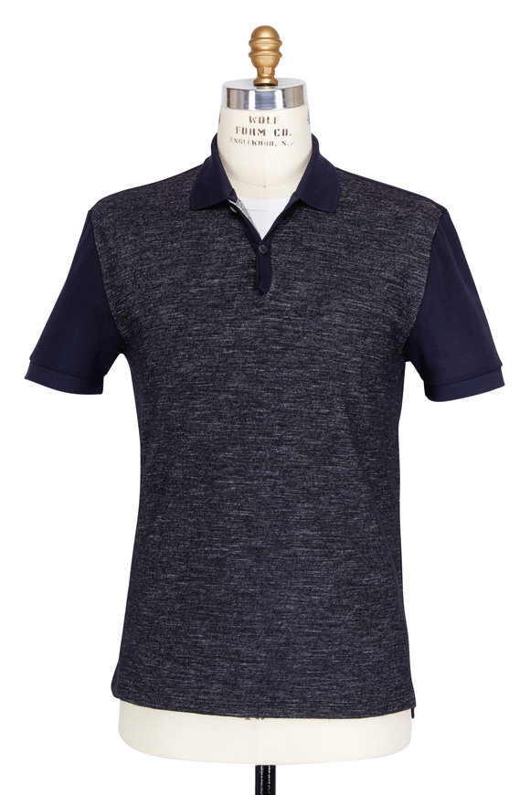Lanvin Navy Blue & Grey Jersey Tweede Polo