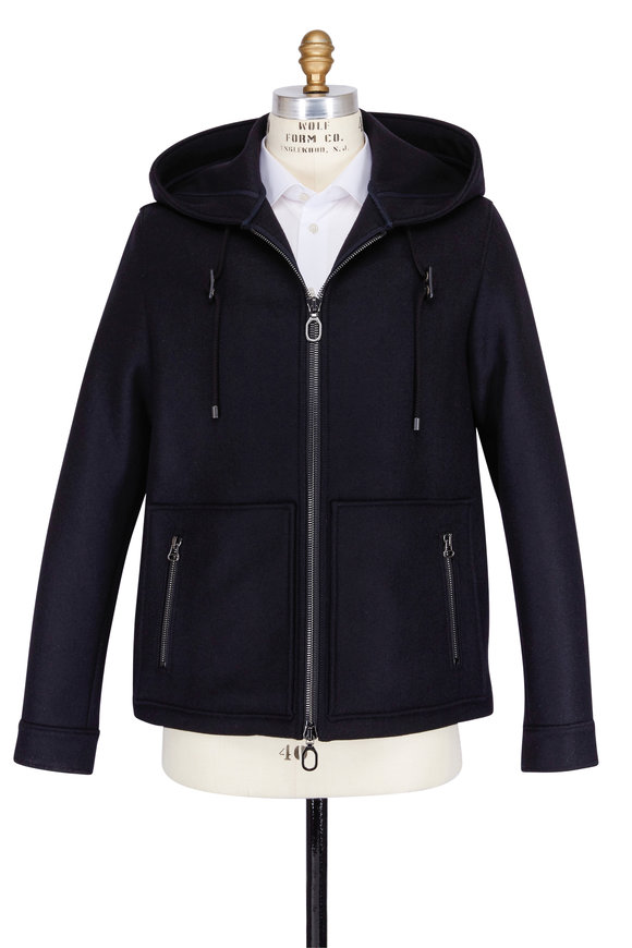 Lanvin Black Compact Felt Hooded Jacket