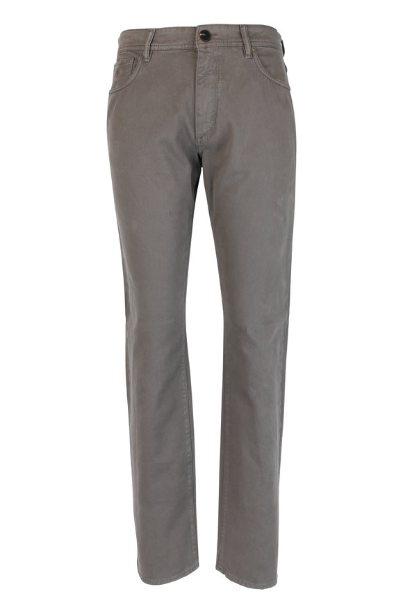 Luciano Barbera Brown Stretch Cotton Five Pocket Pant