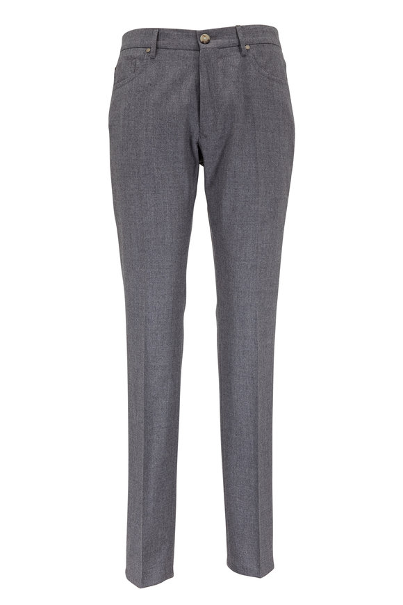 Incotex Light Gray Wool & Cashmere Five Pocket Pant