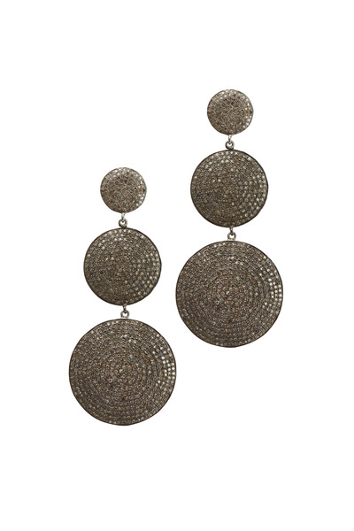 Tulah Jem - White Gold Circle Drop Diamond Earrings