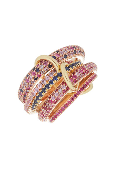 Spinelli Kilcollin - 18K Gold Sapphire & Ruby Five Link Nexus Ring