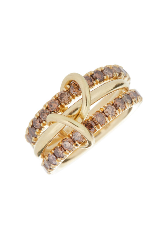 Spinelli Kilcollin 18K Yellow Gold Diamond Three Link Nova Ring