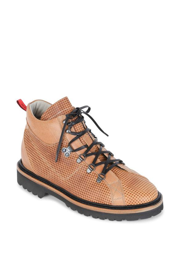 Kiton Faran Light Brown Embossed Leather Hiking Boot