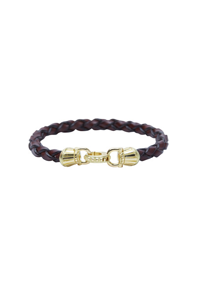 Paul Morelli - Yellow Gold Braided Leather Bracelet