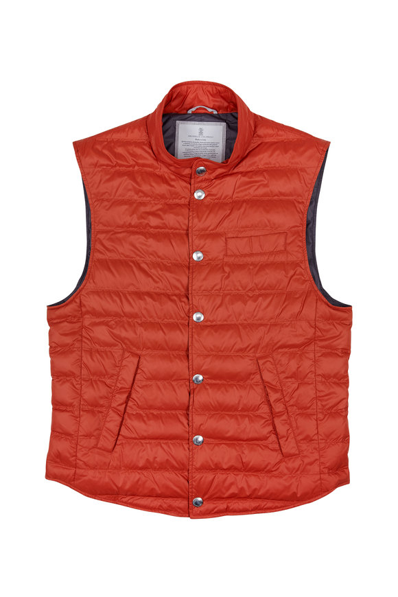 Brunello Cucinelli Orange Light Weight Puffer Vest