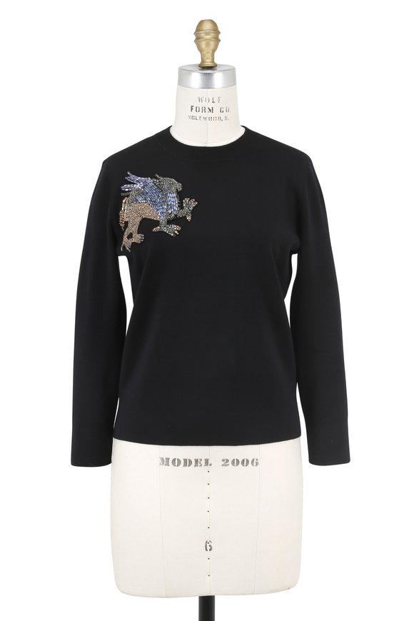 Alexander McQueen Black Embellished Griffin Crewneck Sweater