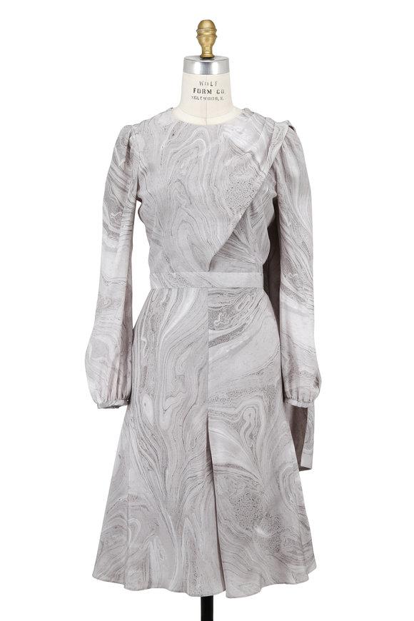 Alexander McQueen Gray Marble Print Silk Long Sleeve Dress