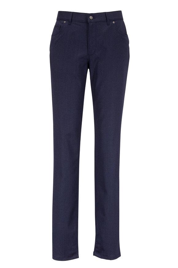 Hiltl Kent Navy Blue Stretch Wool Herringbone Pant