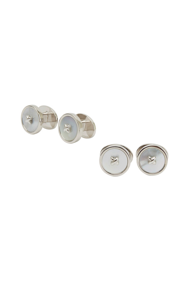 Sterling Silver Classic Mother-Of-Pearl Stud Set