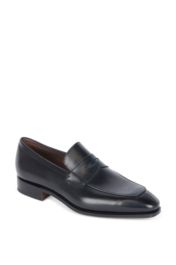 Carmina Simpson Black Box Calf Penny Loafer