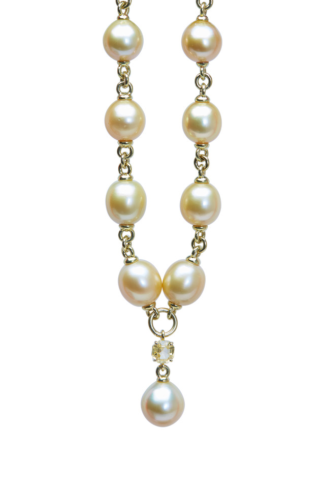 South Sea Pearl Strand Yellow Sapphire Necklace