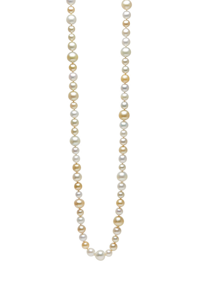 South Sea White & Yellow Pearls Diamond Necklace