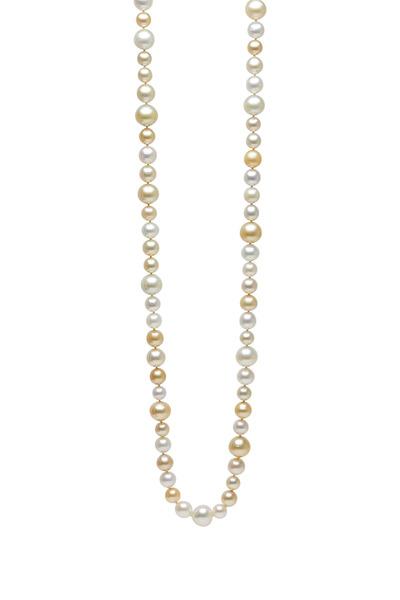Frank Ancona - South Sea White & Yellow Pearls Diamond Necklace