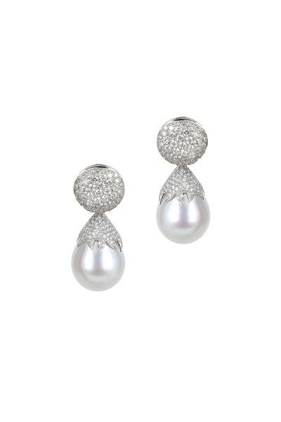 Frank Ancona - 18K White Gold South Sea Pearl & Diamond Earrings