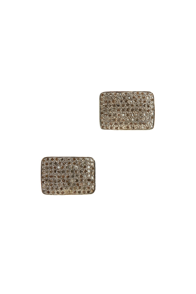 Clip-On Small Rectangle White Diamond Earrings